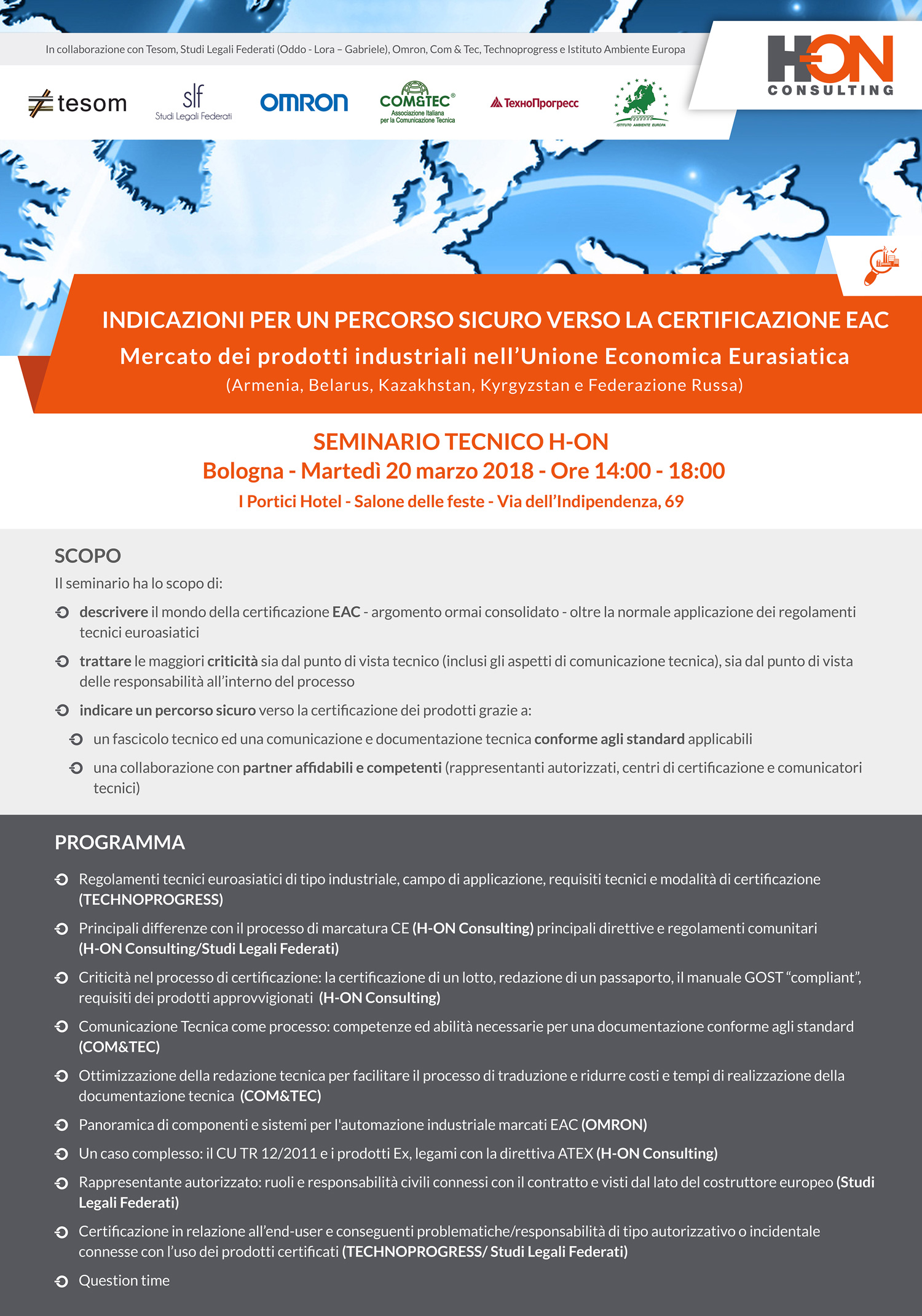 Seminario Tecnico H-ON Bologna - Martedì 20 Marzo 2018